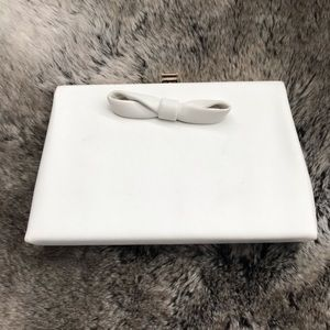 Rare HTF Harry Levine White Clutch with Bow Detail